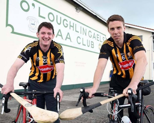 "Kilkenny hurlers get on their bikes for Jack & Jill Kilkenny Cycle happening on 17th September"".  All Ireland and All Star Kilkenny hurlers Martin Comerford and Brian Hogan pictured at their home ground O'Loughlin Gaels GAA in Kilkenny to promote the Jack & Jill Kilkenny Cycle."