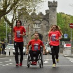Olympic Marathon qualifiers Lizzie Lee and Mick Clohisey alongside Paralympic qualifier and 2015 wheelchair race winner, Patrick Monahan, launched the 2016 SSE Airtricity Dublin Marathon and Race Series with a tribute to the Ireland 2016 Centenary at Kilmainham Gaol. Picture credit: Paul Mohan / SPORTSFILE