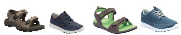 From L-R (Men's Terrarock Sandal €38.50, Men's Marine Shoe €56, Lady Terrarock Sandal €38.50 and Ladies Marine Shoe €56)
