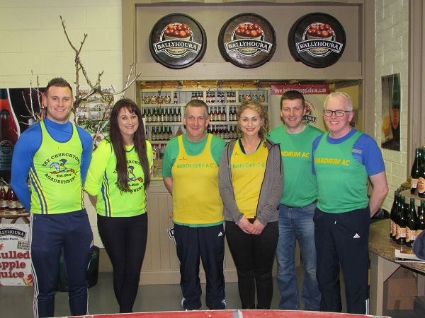 Johnny Murphy and Angela Dobinson of The Churchtown Roadrunners AC.Tom Harrold & Jacinta O'Toole of North Cork Ac.Noel O'Brien & Shane Moran of Shandrum AC.