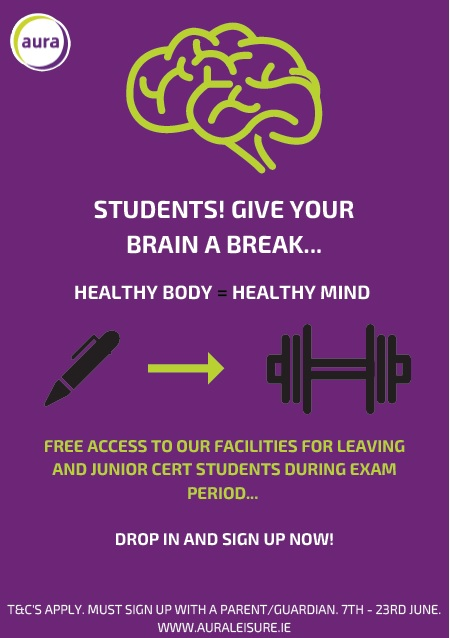 Free Entry for Exam Students at Aura Leisure Centres