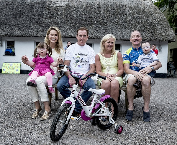 Aoibhín Garrihy with her niece Zoe, Sean Kelly, Ann Norton, Mayor of Ennis and Paul Sheridan with Joey O'Gorman pictured at the official launch of the 17th Annual Tour de Munster cycle in aid of Down Syndrome Ireland (DSI) and individual beneficiaries hosted at Bunratty Castle and Folk Park, Co. Clare on Wednesday, 21st June. The four day charity cycle takes place from Thursday 10th to Sunday 13th August, and will see over 100 amateur cyclists cycle over 600km around the six counties of Munster, raising funds for the Munster branches of DSI and individual beneficiaries. For more information see www.tourdemunster.com. Picture: Keith Wiseman