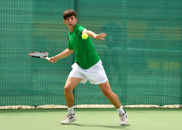 26 July 2017; Team Ireland's Conor Gannon, from Leopardstown, Dublin, competing in the men's tennis singles, round 2, during the European Youth Olympic Festival 2017 at Olympic Park in Gyor, Hungary. Photo by Eóin Noonan/Sportsfile