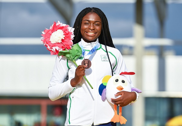 26 July 2017; Team Ireland's Patience Jumbo Gula, from Dundalk, Co. Louth, with her bronze medal after coming third in the women's 100m final at the European Youth Olympic Festival in Gyor, Hungary. Photo by Eóin Noonan/Sportsfile