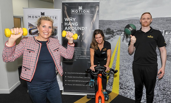 Motion Leisure Club trainers at the Montenotte Hotel Ian Mcloughlin and Aggie Laskowska pictured with Irish Heart Foundation regional manager Anne Riordan, at the launch of Big Heart Fit Camp in Cork this week. Picture: David Keane.