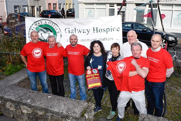 Simon Heaslip, Ernie Deacy, Malachy Duggan, Karen Healy, Billy Lawless, Dilis Claire, James O'Toole and Ray Silke launching the Galways westend walk for Galway Hospice. 100 per cent of all funds raised will go towards helping to build a new Hospice on the grounds of Merlin Park.