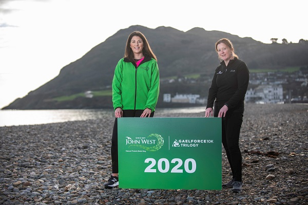 Lucy Gratton of John West Ireland and Bridget Gavin of Gaelforce launching the John West Gaelforce Trilogy at Bray Head. The innovative event is comprised of three extraordinary 10k trail runs through the scenic settings of Bray Head (April 4), Kippure Mountain (August 8) and Howth Summit (October 10). See gaelforceevents.com for entry details. Pic: Fintan Clarke