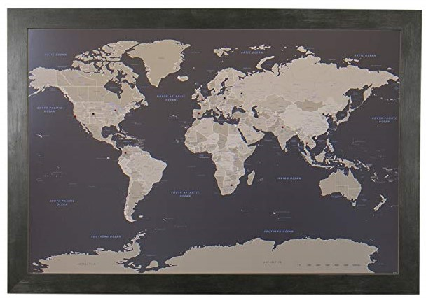 Modern pushpin world map