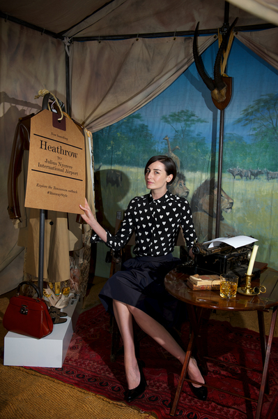 Erin O'Connor unveils Heathrow's new personal shopping services at London's Somerset House