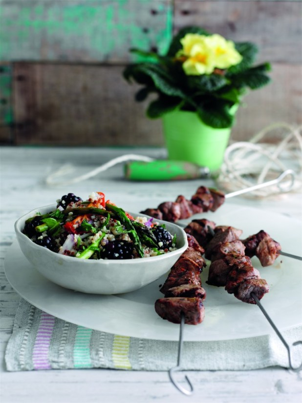 Spiced lamb skewers with blackberry couscous and asparagus 1