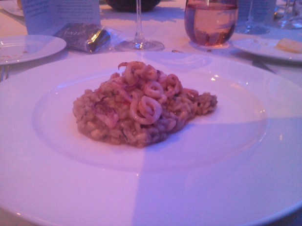 Risotto with fennel and walnuts roasted squid at Hotel Xenia London