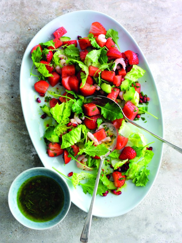 Seafood salad with strawberries