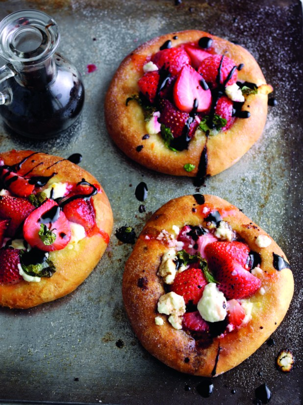 Sweet strawberry, basil and balsamic pizzas