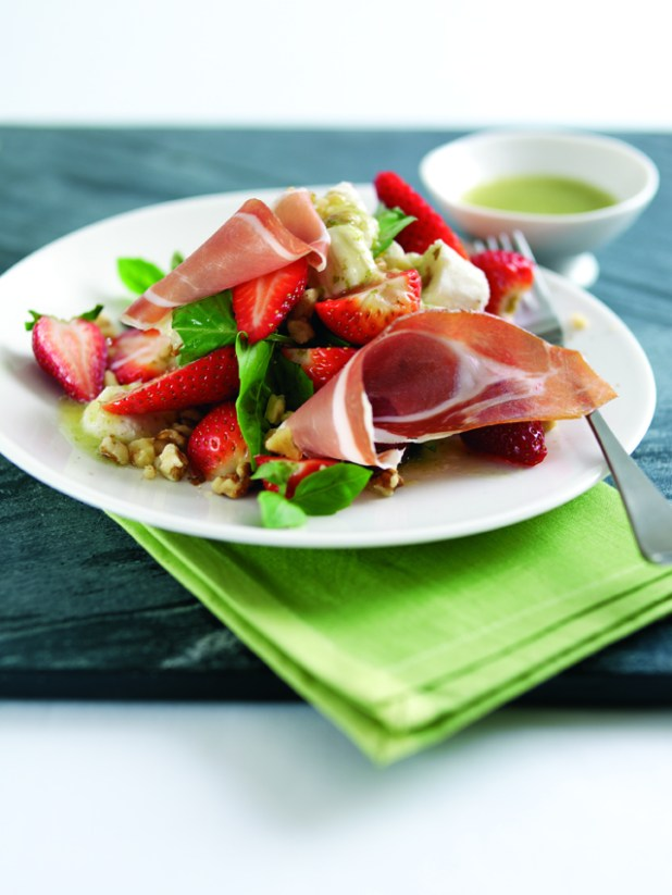 Parma Ham, Strawberry, Mozzarella and Walnut Summer Salad Dressed with Kiwi-Lime Vinaigrette