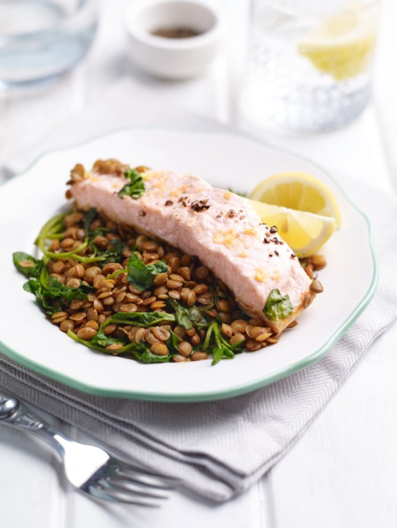 Chilli Salmon with Lentils & Watercress