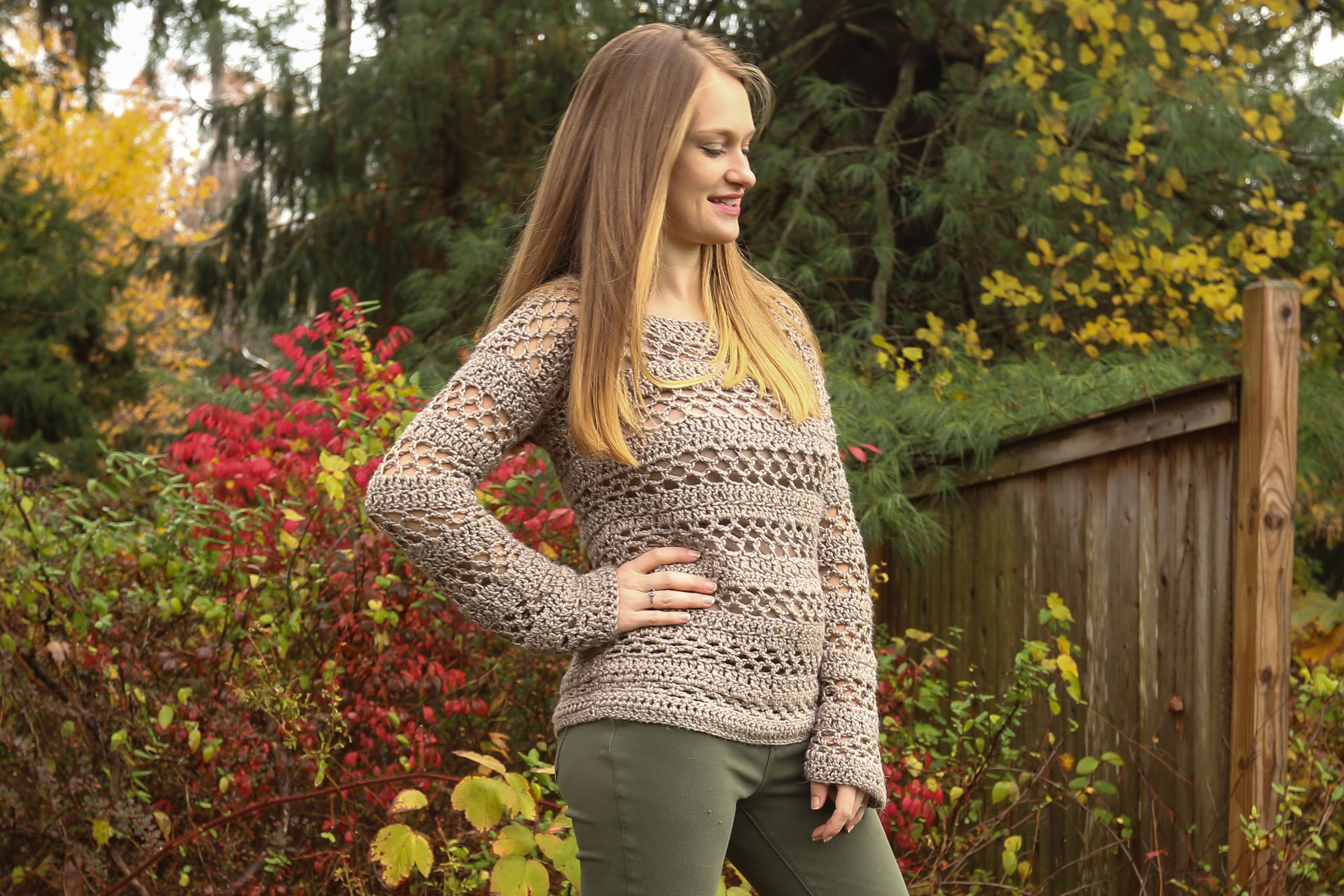 Free Crochet Pullover Sweater made in Lion Brand Heartland