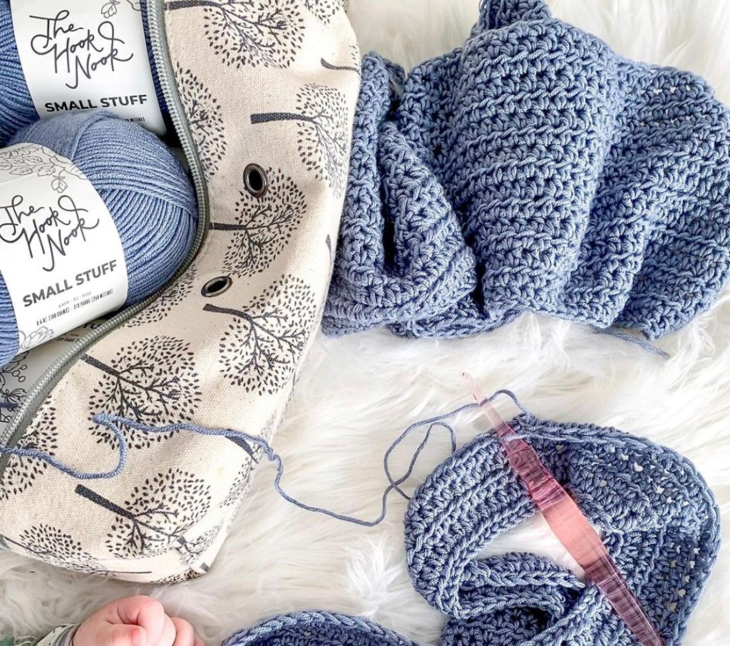 Making a crochet sweater.