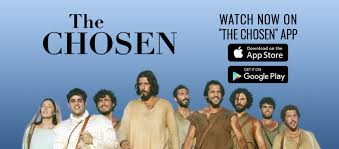 The Chosen app logo showing you how to download it and a picture of the stars of the show. This is one of the 5 must have apps for Christians.
