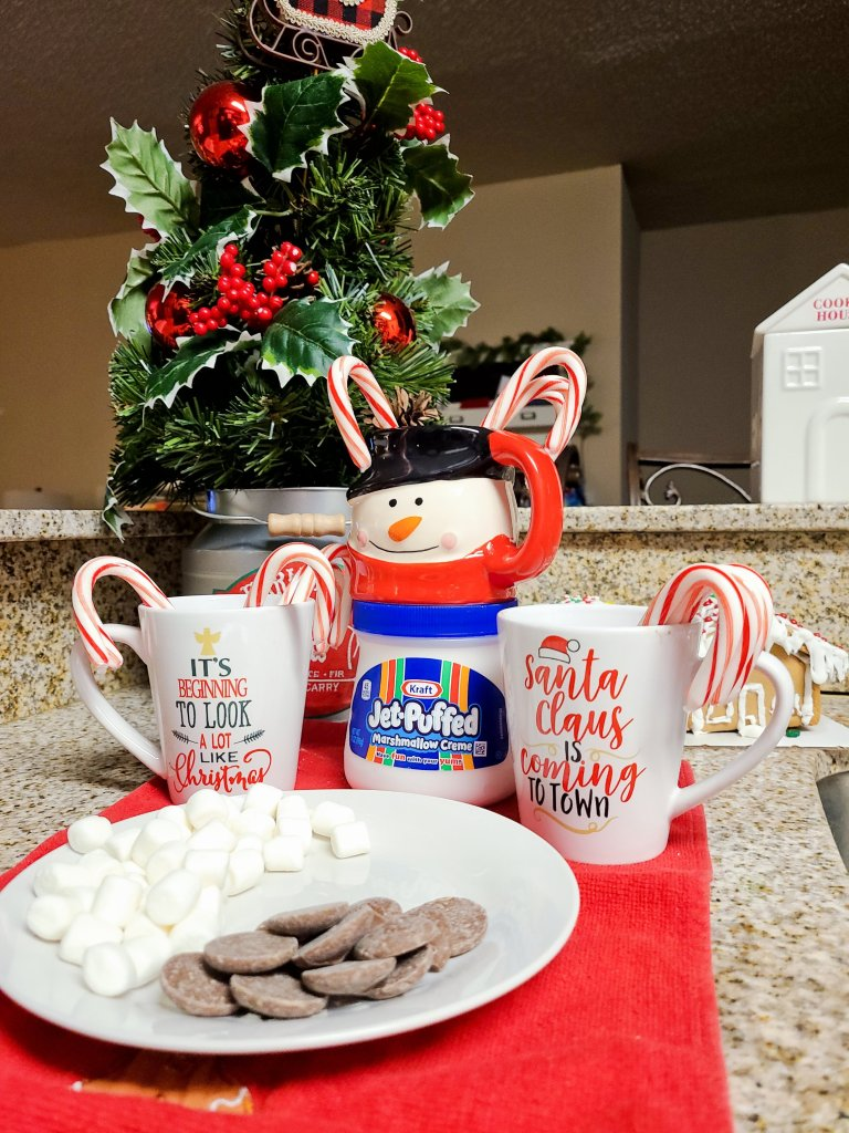 Hot chocolate bar for camping under the Christmas tree.