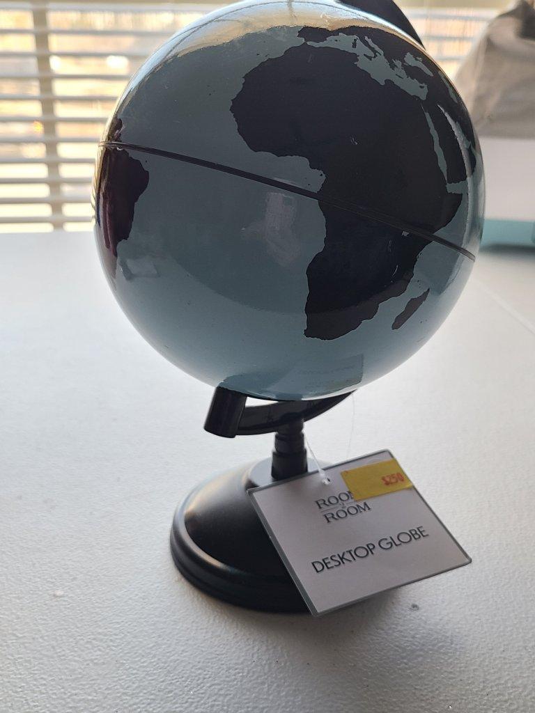 Valentine's DIY globe before makeover