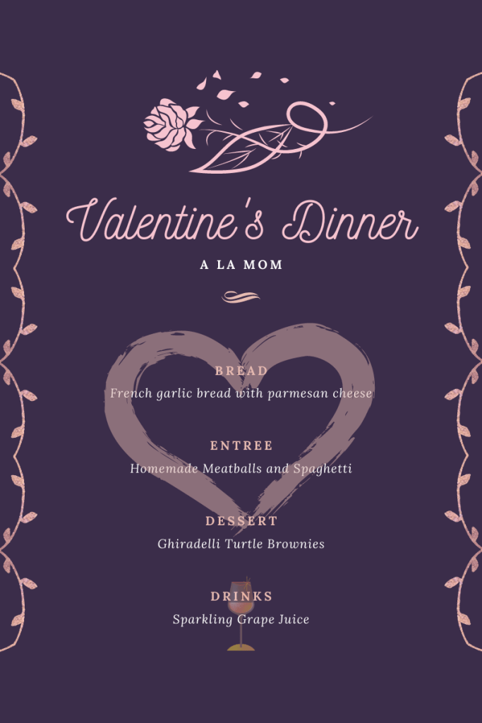 Valentine's Day family dinner menu