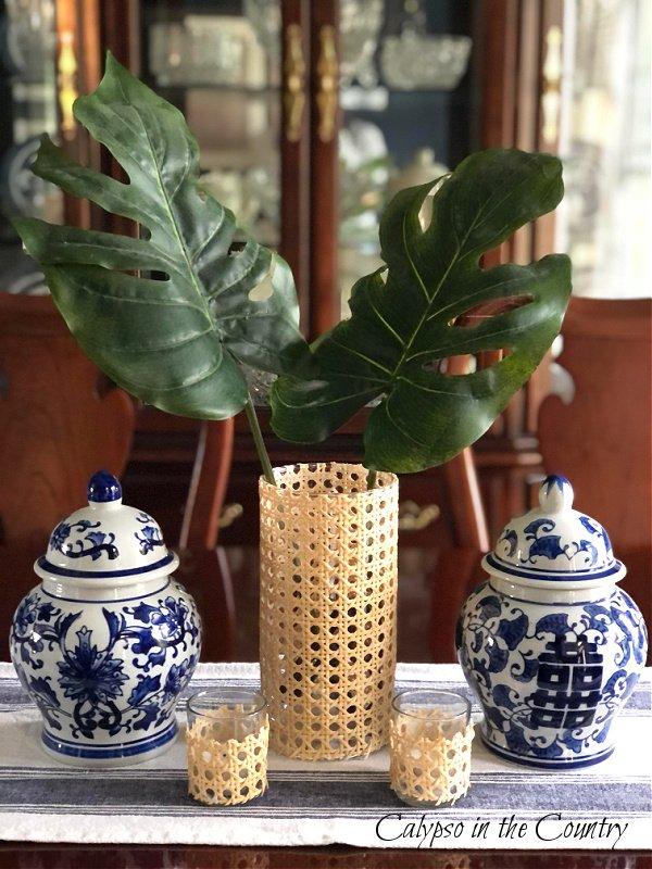 DIY cane wrapped vase