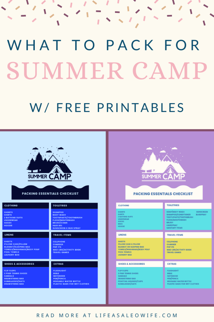 Collage of summer camp packing checklist free printables. One is for boys in different shades of blue, the other for girls in purple, yellow, and teal.