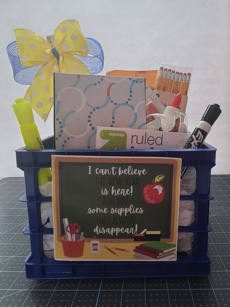 Back to school teacher's gift basket filled with supplies
