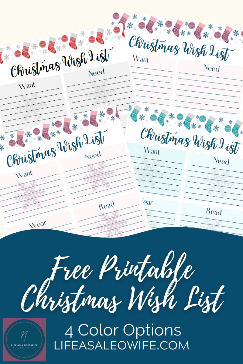 Free Printable Christmas wish list- mockup of all Christmas wish list color options.