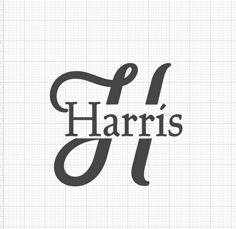 Completed split letter monogram in Design Space. Letter H with Harris written in the middle.
