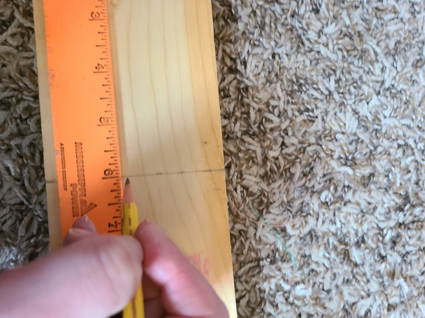 """Measuring 6"""" from the top of a piece of wood with an orange ruler and marking it with a pencil. This will be the first faux reversible book."""