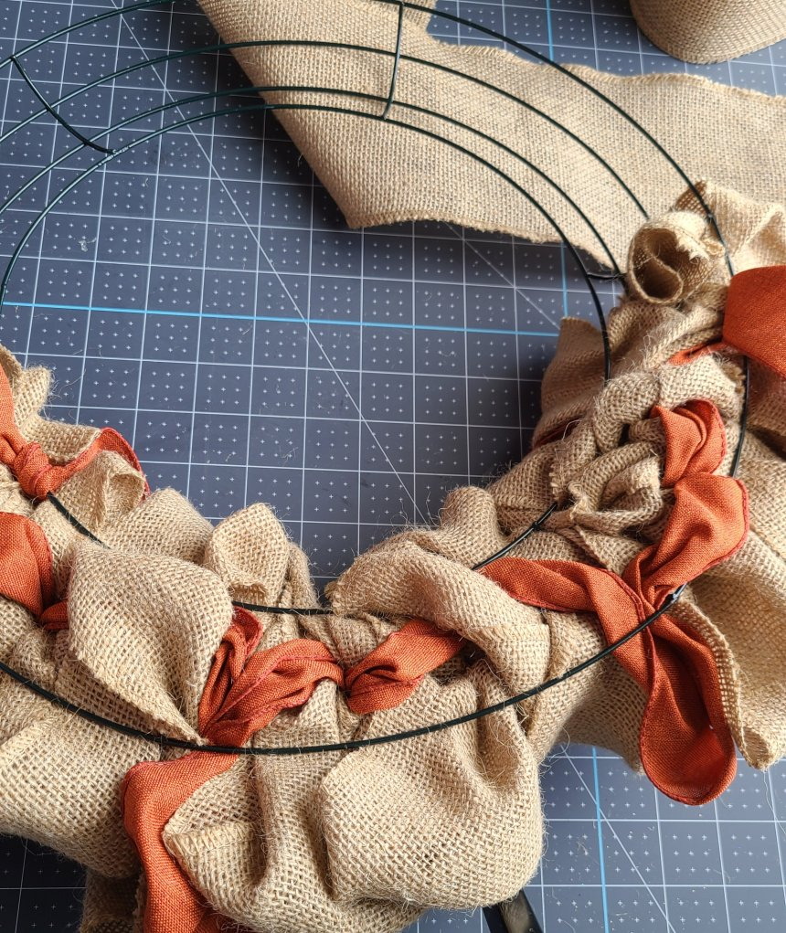 The back of the burlap wreath, half-way through the process.