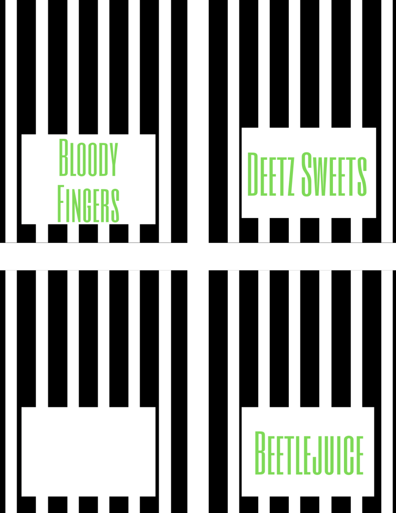 """Beetlejuice free printables: food tent cards, one blank, one """"Deetz sweets,"""" one """"Beetlejuice,"""" and one """"bloody fingers."""""""