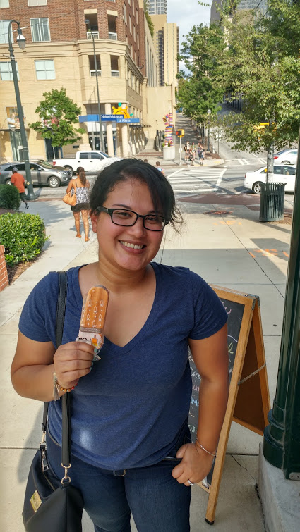 Trying the Thai Tea Popsicle