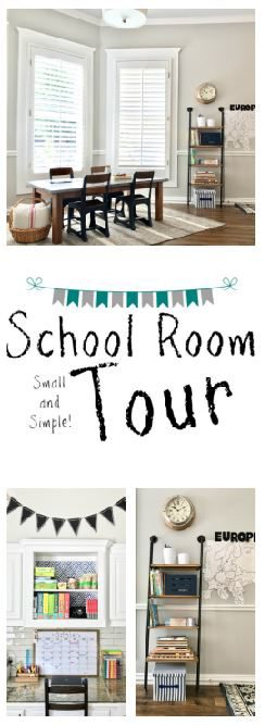 Gorgeous, simple little school room. Love the natural lighting and gray walls! (Life as a Rambling Redhead)