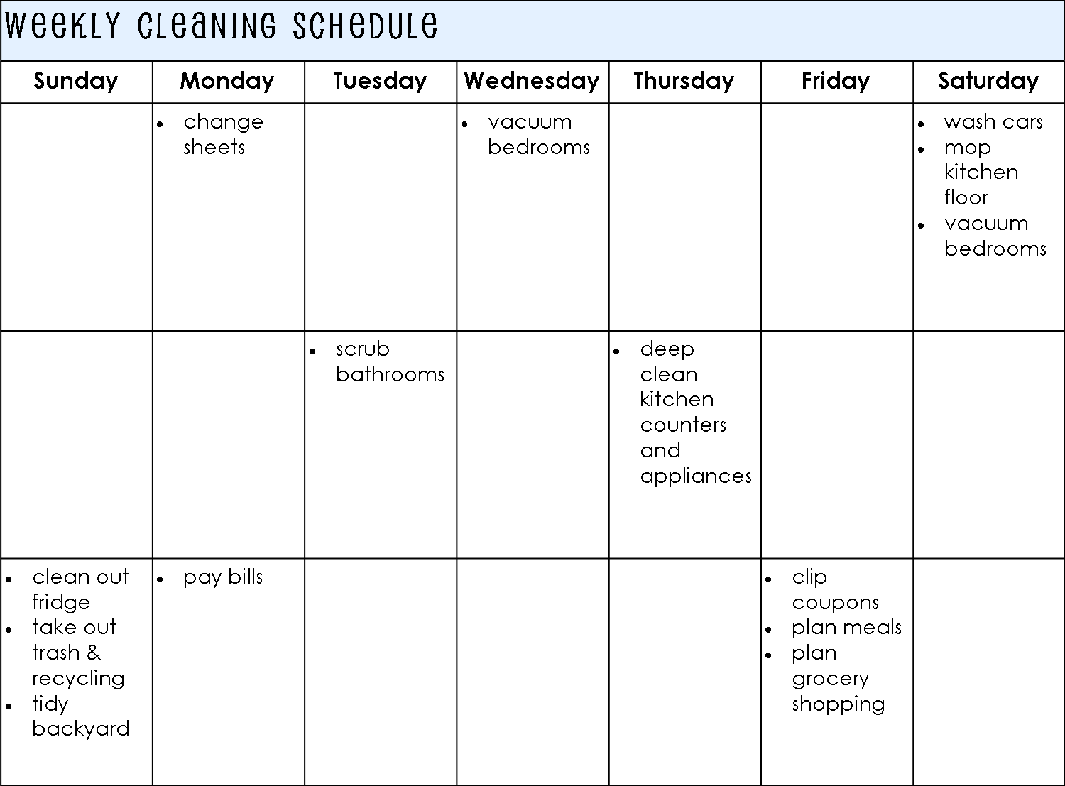 sample house cleaning checklist – Sample Cleaning Schedule Template