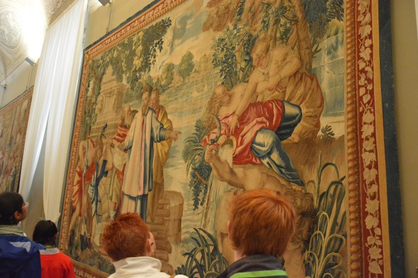 Tapestries painted with Biblical stories