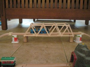 Example photo of a craft stick bridge.