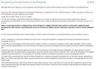 Filipina-Foreigner Divorce Law - Click To Enlarge