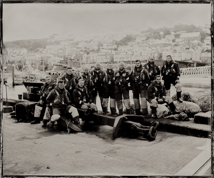 The Lifeboat Station Project: 12x10 inch Ambrotype by Jack Lowe The Penlee RNLI Lifeboat crew (stationed at Newlyn), Tuesday 22nd September 2015