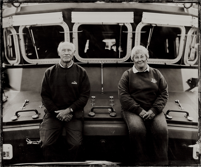 The Lifeboat Station Project: 12x10 inch Ambrotype by Jack Lowe Roy Pascoe and Janet Madron aboard the Penlee Severn Class Lifeboat RNLB Ivan Ellen, Thursday 24th September 2015