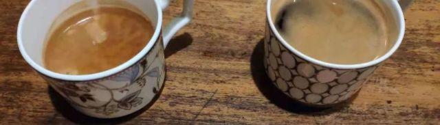 左:長杯咖啡(Lungo)右:美式咖啡