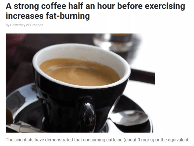 運動前喝咖啡有助減肥