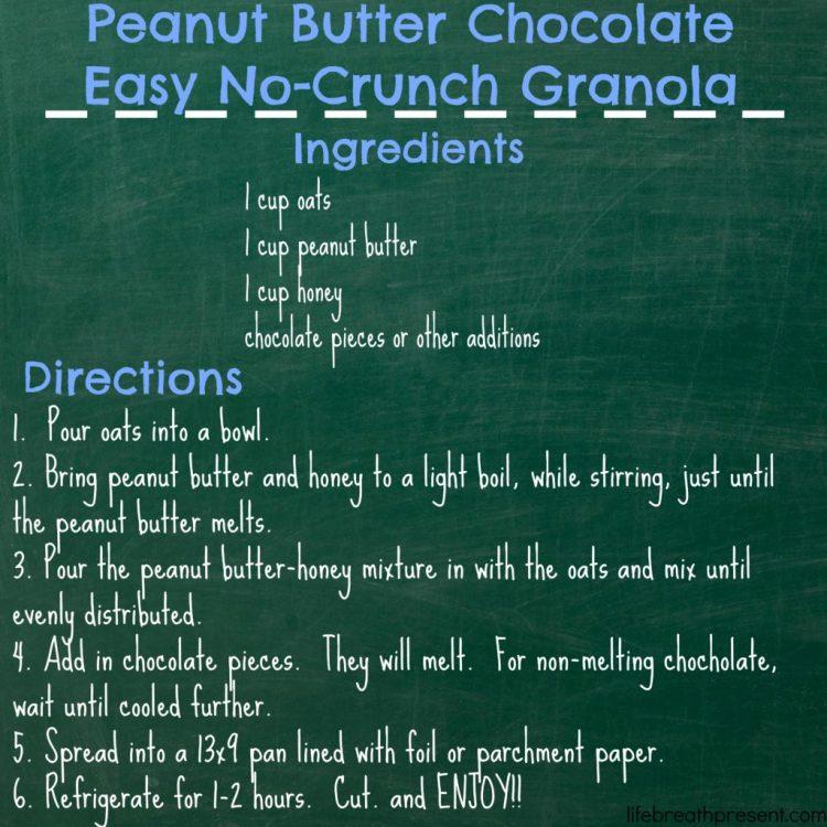 recipe, peanut butter chocolate no-crunch easy granola, granola, homemade, homemade granola, no-crunch granola, no-crunch, peanut butter, chocolate
