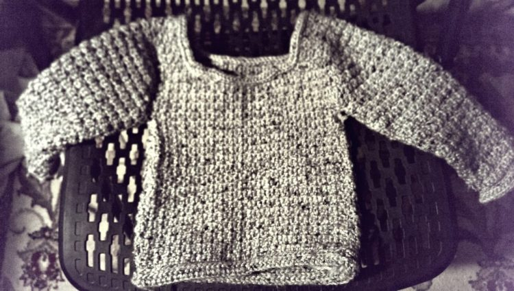 grey sweater, crochet, baby, 31 days of photography