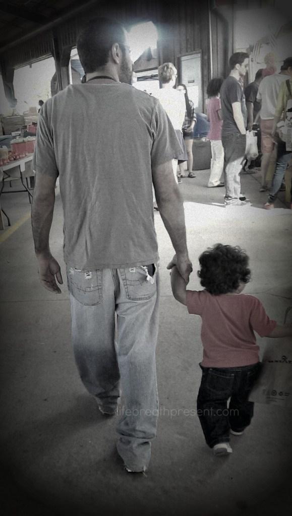 farmers market, family, shopping, baby, dad, papa