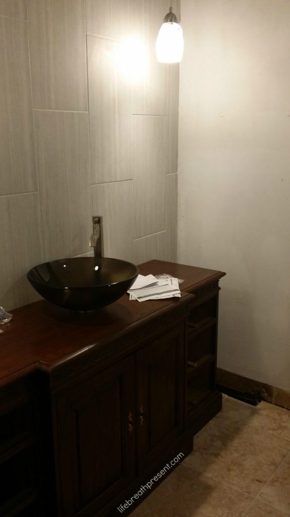 remodeling, bathroom, vanity, vessel sink, brown, tile wall, tile floor, diy, home improvement