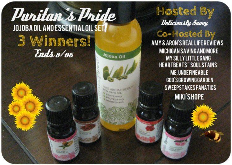 puritans pride, essential oils, giveaway, jojoba oil, rosewood, sandalwood, geranium, bergamot