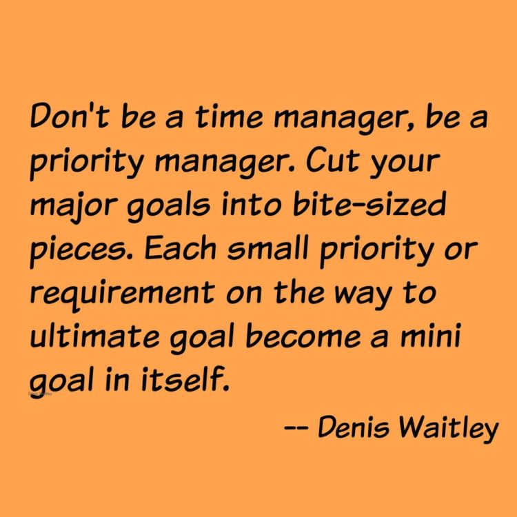 denis waitley, quote, manager, goals, priority, gain more order in my day, order, gain more order, plan