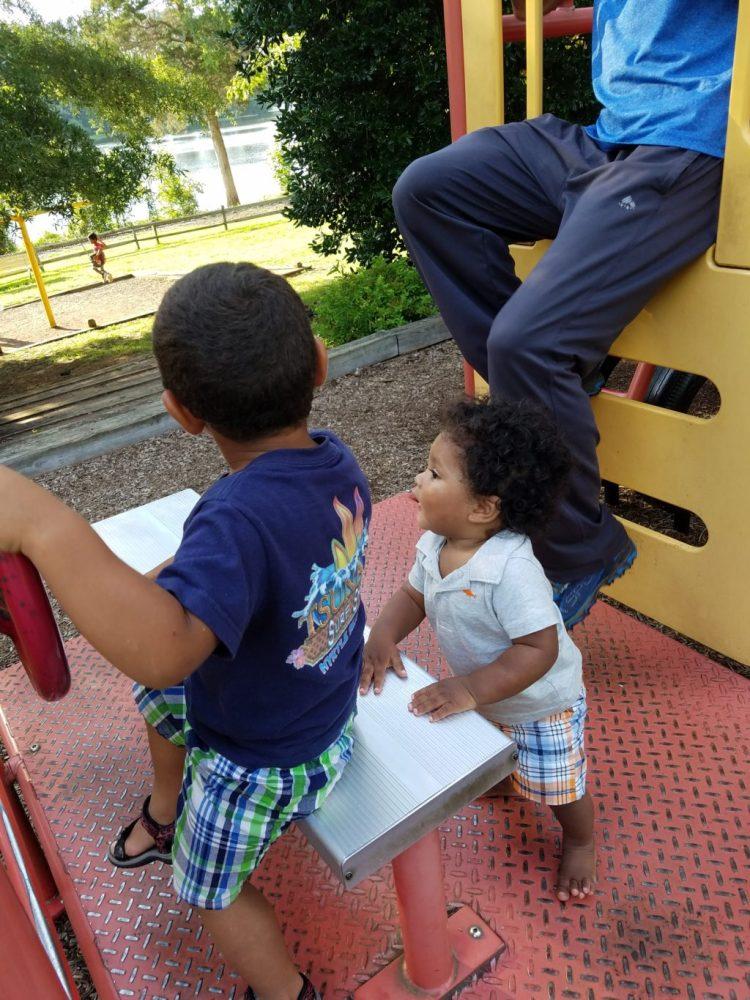 park, playing, summer, sun, family, fun, baby, firetruck, driving, truck, toddler, boy